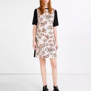 ZARA • Black Floral Print Contrast Midi Dress